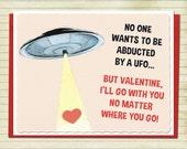 Valentine's Day Card UFO Art Retro Valentine Vintage Card Geekery Alternate Histories Flying Saucer Martians