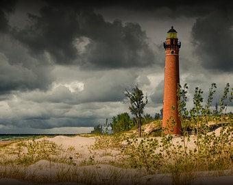 Little Sable Point Lighthouse with Cloudy Sky on the Lake Michigan Shore by Silver Lake Michigan No.2852 - A Lighthouse Seascape Photograph