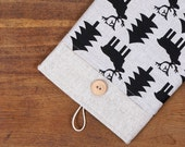 60% OFF Winter SALE White Linen iPad Case with moose fir print pocket and button closure. Padded Cover for iPad 1 2 3 4. iPad Sleeve Bag.
