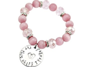 For this Child I Prayed Pink hand stamped mom bracelet