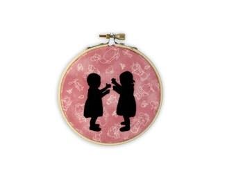 Hoop Art: Little Girls on Beatrix Potter Fabric