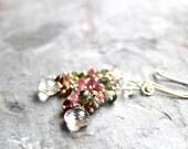 Tourmaline Earrings Crystal Quartz Multi Color Gemstone Earrings Sterling Silver Cluster Dangle Cascade
