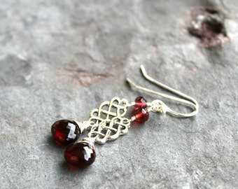 Garnet Jewelry Earrings Sterling Silver Scrolls, January Birthstone, Red Gemstone Dangle Earrings