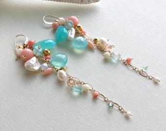 Peach Aqua Gemstone Dangle Earrings, Gemstone Cluster, Long Dangle Earrings, Peach Coral, Peach Mint Earrings, Boho Dangle Earrings