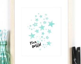 Stars Nursery Print in A4 / 8x10 Size - Mint Green Nursery Decor, Baby Boy Nursery or Baby Girl Nursery Print