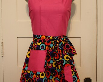 Colorful Full Apron, Pink and Black Apron, Traditional Apron, Craft Apron, Baker Apron, Women's Apron, Unique Christmas Gift for Her