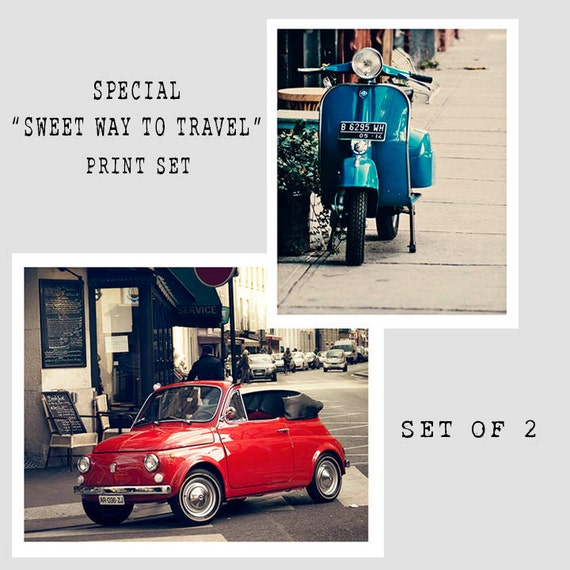 Art, Photography, SPECIAL Sale Price Set, Set of 2, Extra Savings, Vespa and Fiat, Vintage Colors,Print Set, Dorm Room Art