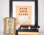 Wash Your Hands or Zombies Alt Colors // Typographic Print, Bathroom Art, Kitchen Art, Reminder Poster, Halloween Art, Walking Dead, Zombies