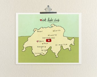 I Love You in Switzerland // Typographic Print, Digital Print, Swiss, Map, Modern Baby Nursery, Illustration, European Travel Theme Wall Art