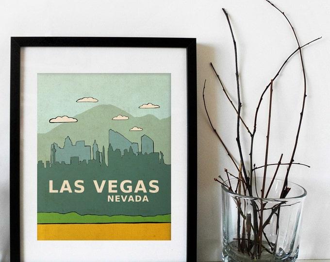 Las Vegas, Nevada // City Skyline Illustration Typographic Print, Modern Art, Kids Room, Nursery Art, Mountains, Digital Art Poster Print