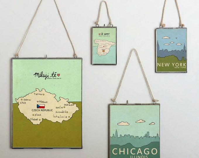 I Love You in Spain // Typographic Illustration Digital Art Poster Print, Giclee, Nursery Art, Kids Room, Map Drawing, Handlettering, Love