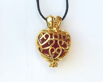 Ruby Red Sea Glass  Heart  Necklace Locket Frosted