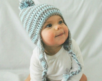 Blue Baby Hat, Baby Blue and Gray Stripes, Newborn, Infant Hat, EarFlap, Pom Pom, 3-6 Months, 6-12 Months, Baby Boy Hat, Crochet Baby Hat