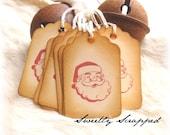 Santa Tags, Retro Vintage Design, Red, Aged, Christmas