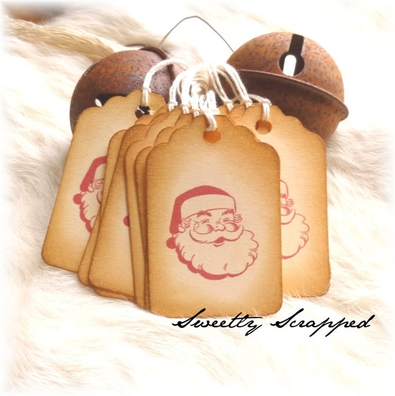 Santa Tags, Retro Vintage Design, Red, Aged, Christmas