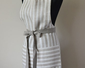 Linen Apron Striped Full Apron Natural Linen Apron Tan With White Traditional Apron With One Big Pocket Eco Apron