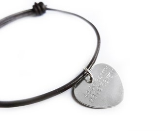 Geographic coordinate bracelet- sterling silver 925, 19cm chain or leather cord