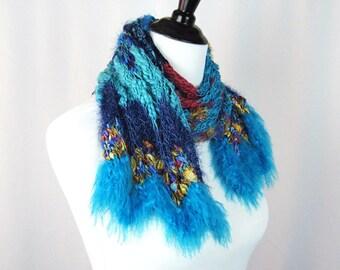 Hand Knit Scarf, Vibrant Turquoise Magenta Blue Gold, Chevron Pattern, Novelty Yarns, Metallic, Fluff, High Fashion, Handmade, Intense Color