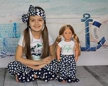 American Girl Matching Pajama Pant Set for Girl Doll 12 18 Month 2t 3t 4 5 6 7 8 10 12 Nautical Sailboat Navy Blue Polka Dot Ruffle Leg