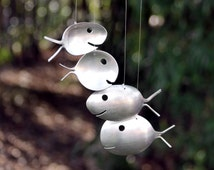 Fish made from spoons, Original spoon fish wind chime, Nautical nursery mobile, Silverware wind chime, Metal windchimes, Spring Yard Stake