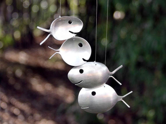 Fish made from spoons original spoon fish wind chimejauquet for How to make a windchime out of silverware