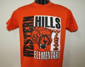 Western Hills Wildcats Elementary vintage 90s orange t-shirt XS/S 50/50