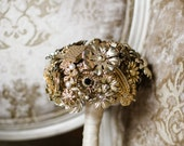 Heart Shaped Custom Brooch Bouquet - Handmade Medium Modern Domed Jewelry Bouquet - Silver, Crystal, Pearl, Gold | Neutral Classic Colors