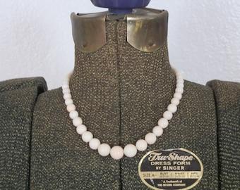 Vintage Coral Necklace Angel Skin Graduated Pink White Mediterranean Silver Bridal Mid Century GallivantsVintage