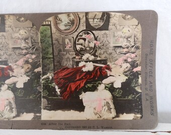 Antique Color Stereograph Card 1901 After the Ball Vintage Victorian Photograph International Stereograph Co GallivantsVintage