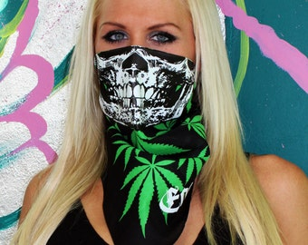 GLOW in the dark skull on Marijuana Cannabis Weed ganja print bandana Mask calavera half face gaiter crip chronic mary jane smoke 420 dank
