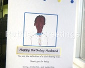 African American Birthday Card -Husband