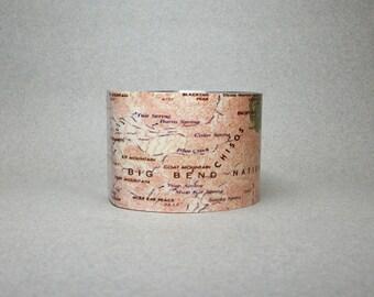 Big Bend National Park Map Cuff Bracelet Texas Vintage Unique Gift for Men or Women