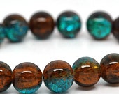 15 Crackle Glass Beads 10mm - Blue - Green and Burnt Orange - BD139