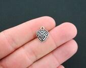 12 Heart Charms Antique Silver Tone Ornate Design - SC4637