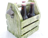 Beer Tote, Tail Gate Carrier with Attached Bottle Opener, Rustic 4 Pack Beer Tote