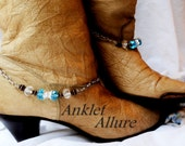 Caribbean Blue Boot Chains Silver Boot Jewelry Motorcycle Boot Chains Biker Babe Boot Jewelry Cowboy Boot Jewelry