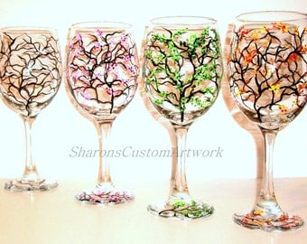 4 Seasons Hand Painted Wine Glasses Set of 4 - 20 oz Handpainted Wine Glasses The Four Seasons of Winter Spring Summer & Fall Gift for Her