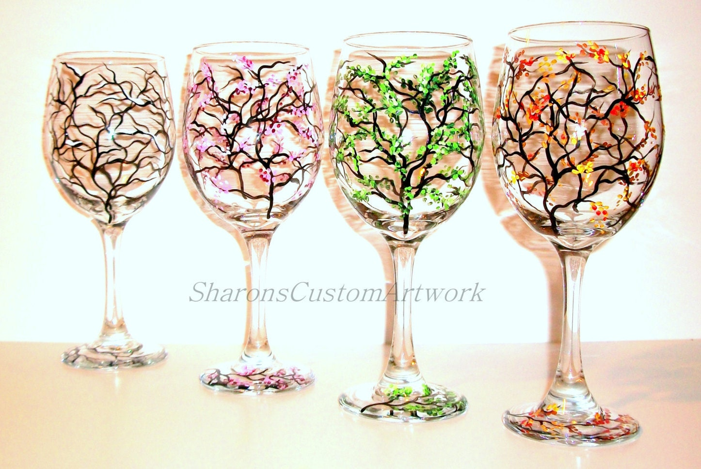 4 seasons hand painted wine glasses set of 4 20 oz for Hand designed wine glasses
