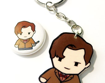 11th Dr Time Traveller - Key Chain and Pin Badge