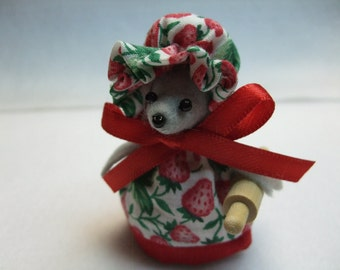 Free Shipping ) Strawberry  Country Mouse Ornament, in a Print Dress  Great for Mice Collector Animal lover By Terrys Country Shop ( 137 )