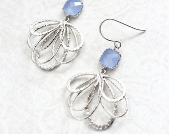 Periwinkle Blue Earrings, Baby Blue Glass Earrings, Silver Dangle, Floral Filigree Earring, Bridesmaids Gift, Nickel Free, Blue Wedding