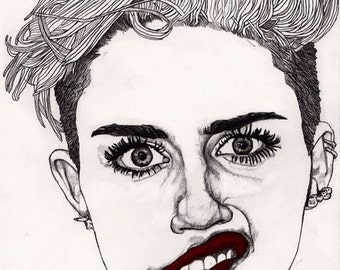 Miley with Red Lips - Original Signed Paul Nelson-Esch Drawing Art pencil Illustration fashion cyrus dance pop  - Free S&H