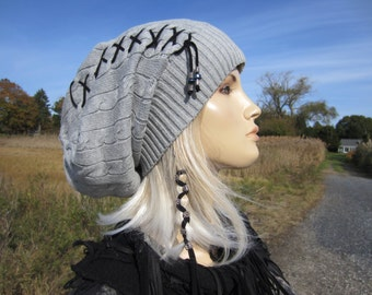 Gray Oversized Slouchy Beanie Cable knit Hat Grey Cotton Lace up Corset Tie Tam A1228