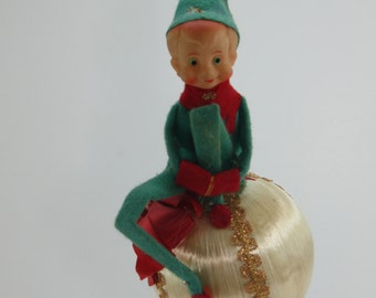 Vintage Elf Pixie Knee Hugger Christmas Satin Ornament