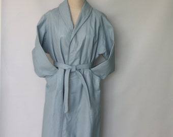 Vintage Leather Coat Light Blue Wrap Style