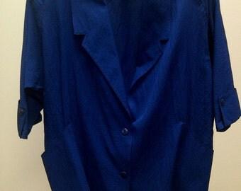 Vintage 1970s Blue Oversized Jacket Cool Graphic Details Medium