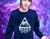 Customizable Dripping Illuminati Eye of Horus Sweatshirt.