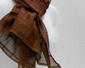 Brown Chiffon Scarf, Fabric Scarves, Womens Accessories, Rectangular Scarf