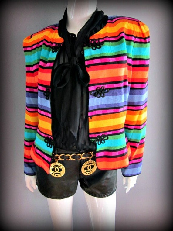 1980s Vintage 80 Rainbow Festival Free People Tribal Silk Bright Trophy Jacket Blazer Coat New Wave Clothing Fashion Dress power suit