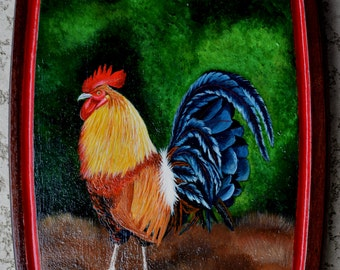 Rooster Painting Antique Cutting Board  - chickens, birds, nature, summer scene, farm rooster, leaves